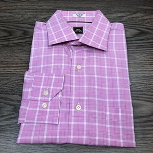Peter Millar Pink & White Plaid Shirt 16 34/35